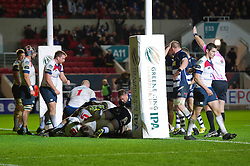 Bristol Rugby Number 8 Mitch Eadie scores a try - Mandatory byline: Dougie Allward/JMP - 27/11/2015 - RUGBY - Ashton Gate - Bristol, England - Bristol Rugby v London Scottish - Greene King IPA Championship