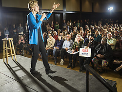 May 3, 2019 - Ames, Iowa, U.S - Sen. ELIZABETH WARREN (D-MA) during her campaign appearance at Iowa State University. About 400 people attended the event. Sen. Warren is campaigning in Iowa Friday and Saturday to promote her bid to be the Democratic candidate for the US Presidency. Iowa traditionally hosts the the first selection event of the presidential election cycle. The Iowa Caucuses will be on Feb. 3, 2020. (Credit Image: © Jack Kurtz/ZUMA Wire)