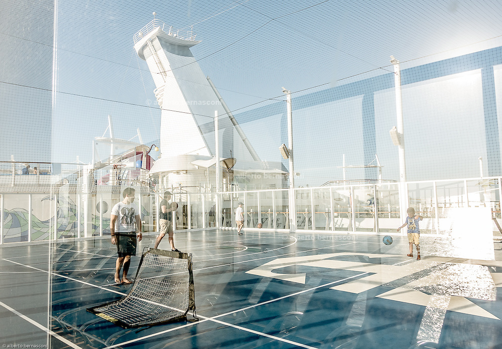 Royal Caribbean, Harmony of the Seas, the Sports Court, which allows for friendly games of basketball, volleyball and soccer.