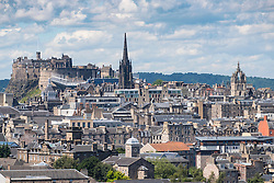 Skyline of city of Edinburgh from Salisbury Crags in Scotland United Kingdom