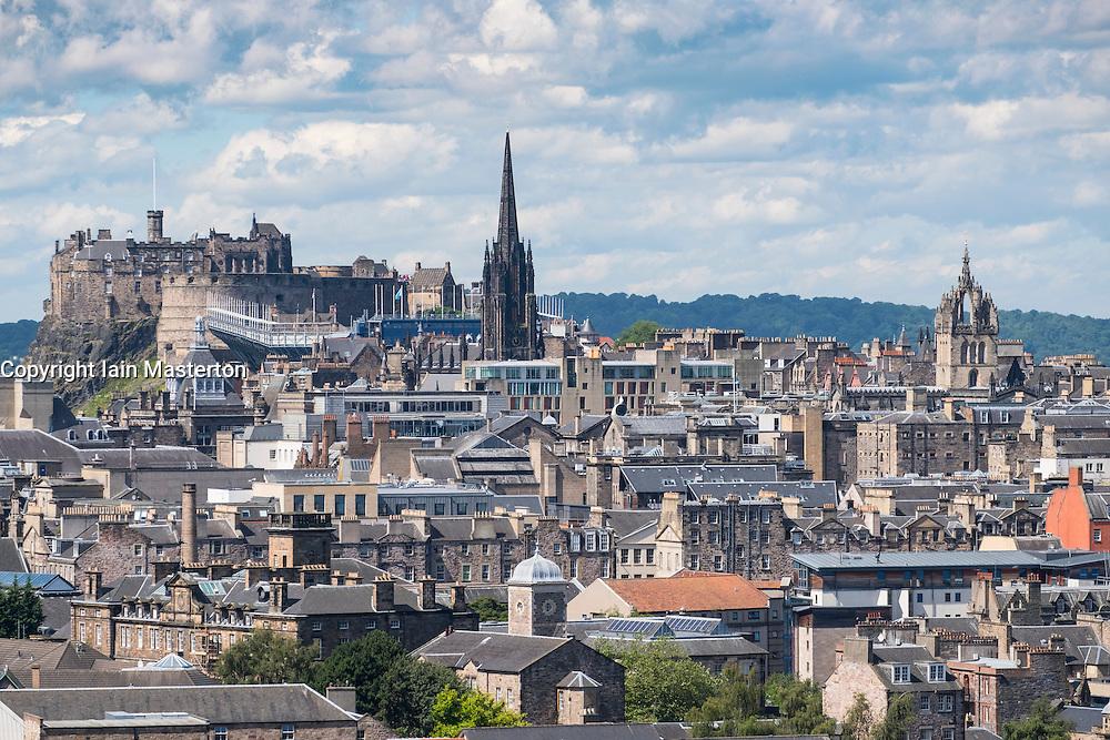 Skyline of city of Edinburgh from Salisbury Crags in Scotland United Kingdom