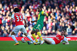 Per Mertesacker of Arsenal sliding tackle on Cameron Jerome of Norwich City - Mandatory byline: Jason Brown/JMP - 07966386802 - 30/04/2016 - FOOTBALL - Emirates Stadium - London, England - Arsenal v Norwich City - Barclays Premier League