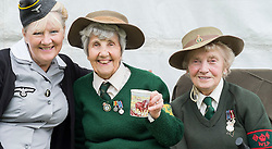 Hull Veterans Weekend Aileen with two of the loveliest ladies you could wish to meet both Veterans of the Women's Land Army. One of the Highlights of our Weekend at Hull Veterans  Weekend  Muriel Berzins and Iris Newbould On Sunday<br /> 25-26 July 2015<br />  Image &copy; Paul David Drabble <br />  www.pauldaviddrabble.co.uk