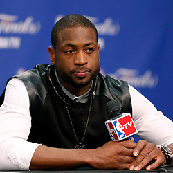 Jun 16, 2013; San Antonio, TX, USA; Miami Heat shooting guard Dwyane Wade addresses the media after game five in the 2013 NBA Finals against the San Antonio Spurs at the AT&T Center. San Antonio Spurs won 114-104. Mandatory Credit: Derick E. Hingle-USA TODAY Sports