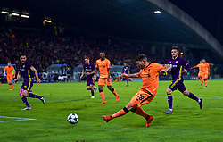 MARIBOR, SLOVENIA - Tuesday, October 17, 2017: Liverpool's Alberto Moreno crosses the ball to assist the fourth goal during the UEFA Champions League Group E match between NK Maribor and Liverpool at the Stadion Ljudski vrt. (Pic by David Rawcliffe/Propaganda)