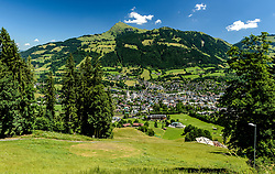 THEMENBILD - Der Blick vom Slalom Start in den Ganslernhang mit dem Zielgelände umgeben mit dem Bergpanorama des Kitzbüheler Horns und der Stadt Kitzbühel, aufgenommen am 26. Juni 2017, Kitzbühel, Österreich // The view from the slalom start into the Ganslernhang with the target area surrounded with the mountain panorama of the Kitzbüheler Horn and the city Kitzbühel at the Streif, Kitzbühel, Austria on 2017/06/26. EXPA Pictures © 2017, PhotoCredit: EXPA/ Stefan Adelsberger