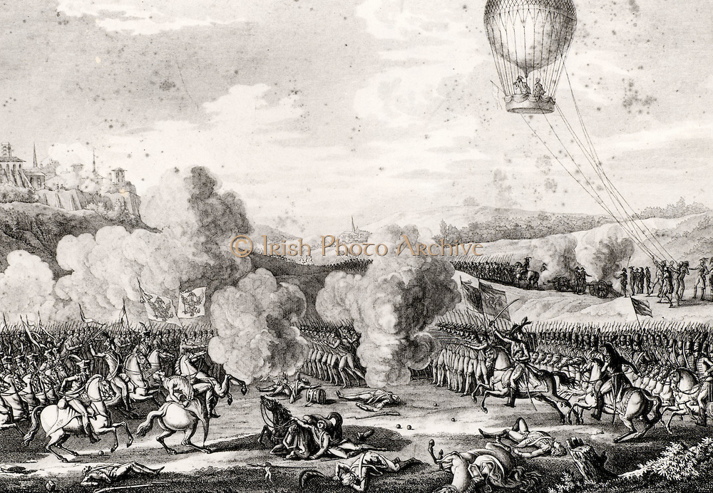 Battle of Fleurus 26 June 1794. French Revolutionary Wars. French defeat of the Austrians, Dutch, and their allies. The first use of a hot air balloon for aerial observation during a battle.  French captive balloon 'La Entreprenant' on right. From contemporary copperplate engraving.