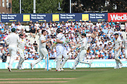 Ian Bell of England is caught by Michael Clarke captain of Australia for 13 Mitchell Marsh of Australia and celebrates during the 3rd day of the Investec Ashes Test match between England and Australia at the Oval, London, United Kingdom on 22 August 2015. Photo by Phil Duncan.