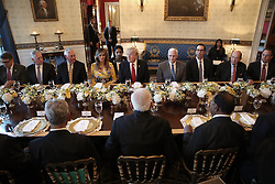 June 26, 2017 - Washington, District of Columbia, United States of America - United States President Donald Trump (C), flanked by first lady Melania Trump (L) and Vice President Mike Pence (R), delivers remarks before dinner with Indian Prime Minister Narendra Modi (C) at the White House June 26, 2017 in Washington, DC. Trump and Modi met earlier today in the Oval Office to discuss a range of bilateral issues. .Credit: Win McNamee / Pool via CNP (Credit Image: © Win Mcnamee/CNP via ZUMA Wire)