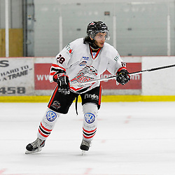 """FORT FRANCES, ON - May 2, 2015 : Central Canadian Junior """"A"""" Championship, game action between the Fort Frances Lakers and the Soo Thunderbirds, Championship game of the Dudley Hewitt Cup. Matt Caruso #28 of the Soo Thunderbirds during the third period.<br /> (Photo by Shawn Muir / OJHL Images)"""