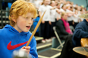 09/02/2013 Billy Jackson drumming for ehe Cross border Orchestra of Ireland who performed at the Kingfisher gym at NUIG Galway. PIcture:Andrew Downes.