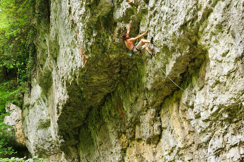 Dave Brown on Cry of Despair, 7c, Cheedale Cornice