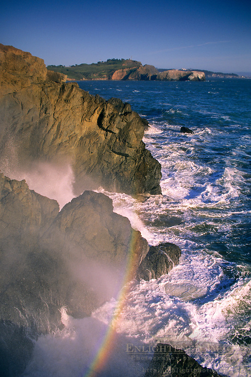 Surf Rainbow, near Rodeo Beach, Marin Headlands, Golden Gate National Recreation Area, California
