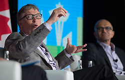 Microsoft Co-Founder, Bill Gates and Chief Executive Officer of Microsoft Satya Nadella take part in a discussion during the Emerging Cascadia Innovation Corridor Conference in Vancouver, B.C., Tuesday, Sept. 20, 2016. Photo by Jonathan THE CANADIAN PRESS/ ABACAPRESS.COMHayward