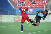 FC Dallas forward Zdenek Ondrasek (13) collides with NYCFC goalkeeper Sean Johnson (1) in a MLS soccer game, Sunday, Sept. 22, 2019, in Frisco, Tex. FC Dallas and New York FC draw 1-1 (Wayne Gooden/Image of Sport)