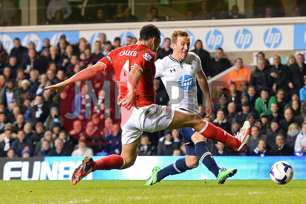 Cardiff's Steven Caulker and Tottenham's Harry Kane  compete for the ball - Photo mandatory by-line: Mitchell Gunn/JMP - Tel: Mobile: 07966 386802 02/03/2014 - SPORT - FOOTBALL - White Hart Lane - London - Tottenham Hotspur v Cardiff City - Premier League