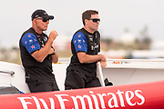 The Great Sound, Bermuda. 10th June 2017. Emirates Team New Zealand CEO Grant Dalton and Physiotherapist Paul Wilson watch the start of race two  of the Louis Vuitton America's Cup Challenger playoff finals.