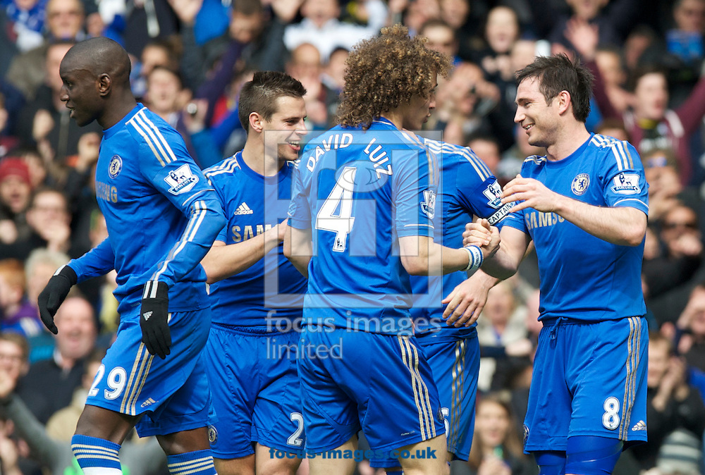 Picture by Alan Stanford/Focus Images Ltd +44 7915 056117.28/04/2013. Chelsea players celebrate Frank Lampards goal during the Barclays Premier League match at Stamford Bridge, London..