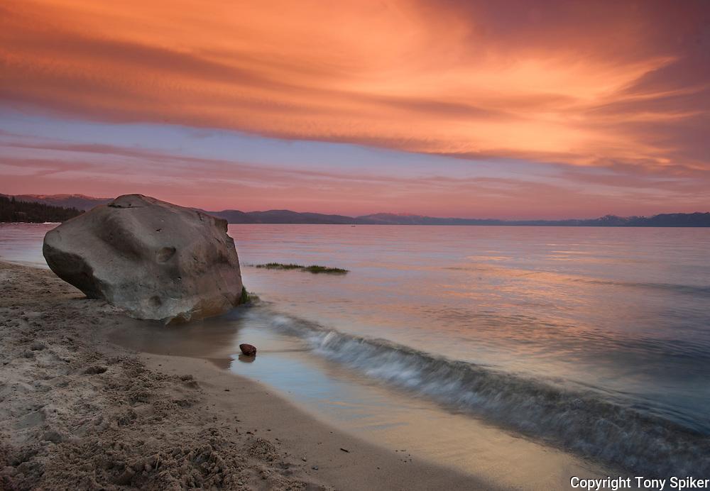 "Secline Beach Sunset 1"" - This photograph was taken at sunset at Secline Beach in Kings Beach, California"