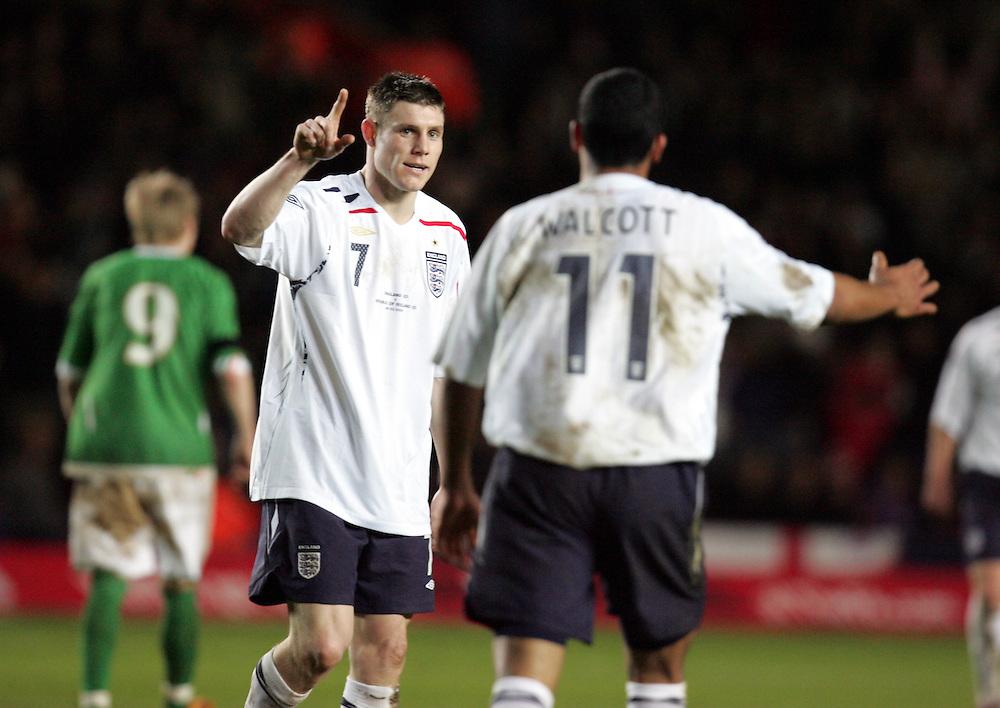James Milner celebrates with Theo Walcott after scoring. England v Republic of Ireland, Uefa Under-21 Championship Qualifier, Tuesday 5th February 2008, St Marys, Southampton.