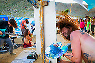 March 26, 2016 - Jimmy Ovadia, right, creates a live painting as he rocks out to AJ Froman's set during Suspended In A Sunbeam Music Festival in Apple Valley, CA. (Photo by: Foster Snell)