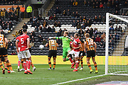 Hull City goalkeeper George Long (12) clears ball during the EFL Sky Bet Championship match between Hull City and Bristol City at the KCOM Stadium, Kingston upon Hull, England on 5 May 2019.