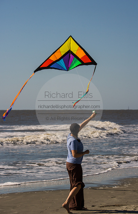 Kite flying on the beach on Isle of Palms, South Carolina.