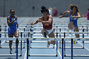 Chanel Brissett of Southern California places third in the women's 100m hurdles in 13.34 during a collegiate dual meet against UCLA at Drake Stadium in Los Angeles, Sunday, April 29, 2018.