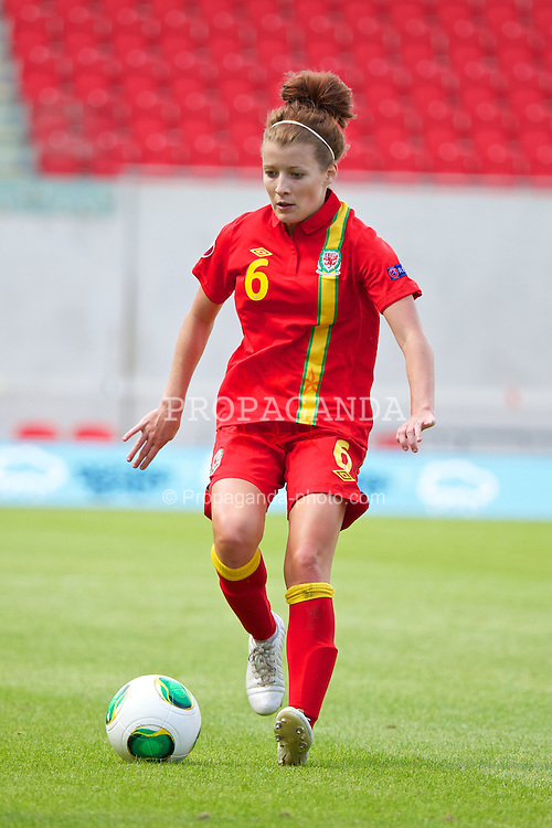 LLANELLI, WALES - Monday, August 19, 2013: Wales' Angharad James in action against Denmark during the opening Group A match of the UEFA Women's Under-19 Championship Wales 2013 tournament at Parc y Scarlets. (Pic by David Rawcliffe/Propaganda)