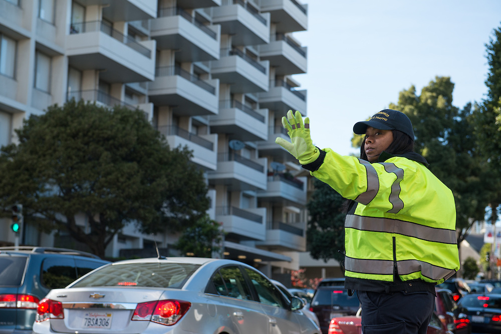 Traffic Enforcement Officer Shalonda Henry Directing Traffic During Closure of Van Ness Avenue | April 10, 2015