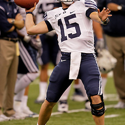 Sep 12, 2009; New Orleans, LA, USA; BYU Cougars quarterback Max Hall (15) against the Tulane Green Wave at the Louisiana Superdome.  BYU defeated Tulane 54-3. Mandatory Credit: Derick E. Hingle-US PRESSWIRE
