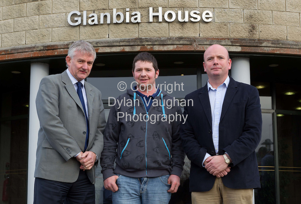 1/12/2011.no charge for repro ...Pictured at the launch of the Glanbia/Teagasc monitor farm programme at Glanbia House was Michael O'Neill, Glanbia Procurement Manager; John Roche, Baltinglass, Co. Wicklow and Richard O' Brien, Glanbia/Teagasc Monitor Farms Co-Ordinator..Picture Dylan Vaughan...