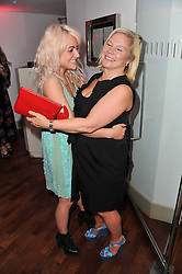 Left to right, JAIME WINSTONE and ALISON OWEN at a party to celebrate the launch of the Lucy in Disguise Ready to Wear collection exclusive to Harvey Nichols, held at The Fifth Floor Restaurant, Harvey Nichols, Knightsbridge, London on 25th May 2011.