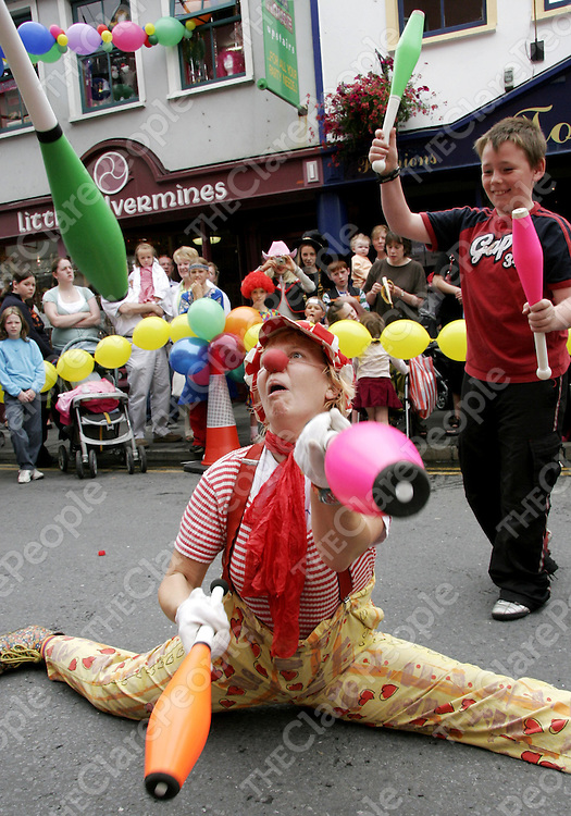 Pippa the clown shows off some of her talents at the first birthday of the Fiesta House in Ennis recently.<br />