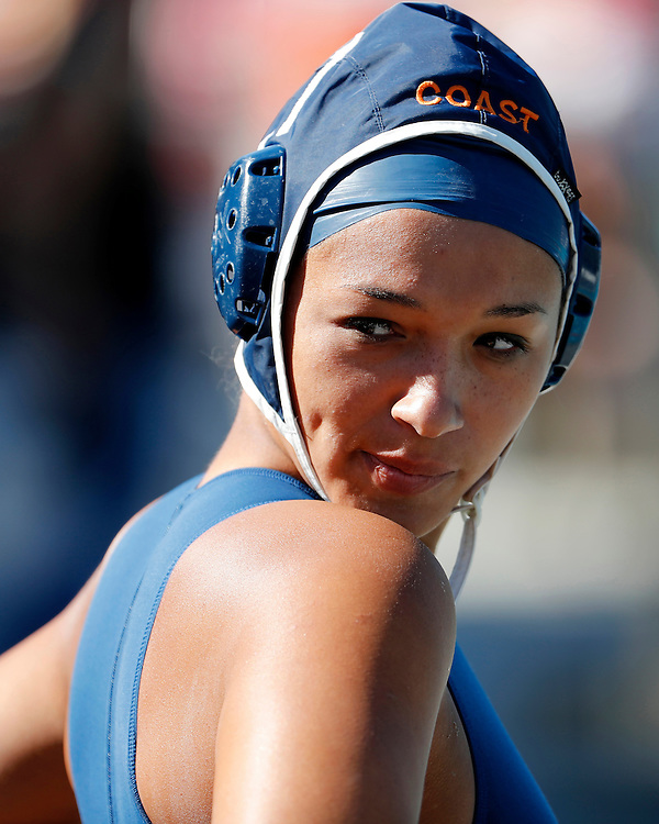 11/3/16 12:35:58 PM -- Orange Empire Conference Water Polo Championships.  Orange Coast College's Kenya Adamson (11) looks at the crowd before the game against Saddleback College. --Saddleback College, Mission Viejo, Ca<br /> <br /> Photo by Joe Bergman / Sports Shooter Academy