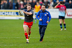 Bristol Rugby First Team Backs & Skills Coach Matthew Sherratt looks on as Scrum-Half Will Cliff warms up - Mandatory byline: Rogan Thomson/JMP - 19/12/2015 - RUGBY UNION - Goldington Road - Bedford, England - Bedford Blues v Bristol Rugby - B&I Cup.