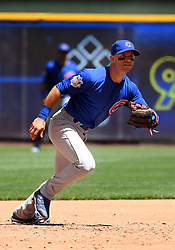 June 13, 2018 - Milwaukee, WI, U.S. - MILWAUKEE, WI - JUNE 13: Chicago Cubs Infield Tommy La Stella (2) tracks a ground ball during a MLB game between the Milwaukee Brewers and Chicago Cubs on June 13, 2018 at Miller Park in Milwaukee, WI. The Brewers defeated the Cubs 1-0.(Photo by Nick Wosika/Icon Sportswire) (Credit Image: © Nick Wosika/Icon SMI via ZUMA Press)
