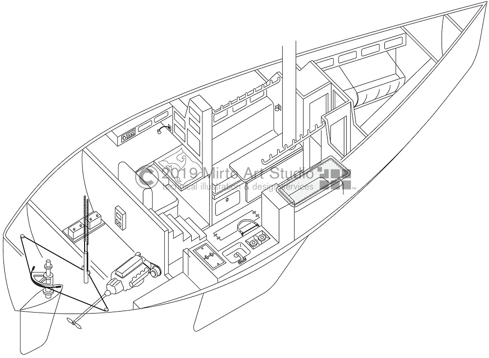 A vector illustration of a Blue Water sailboat design