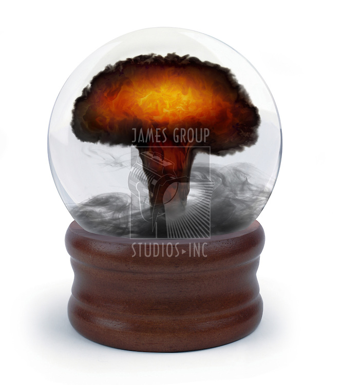 nuclear mushroom cloud appearing inside a crystal ball on white background