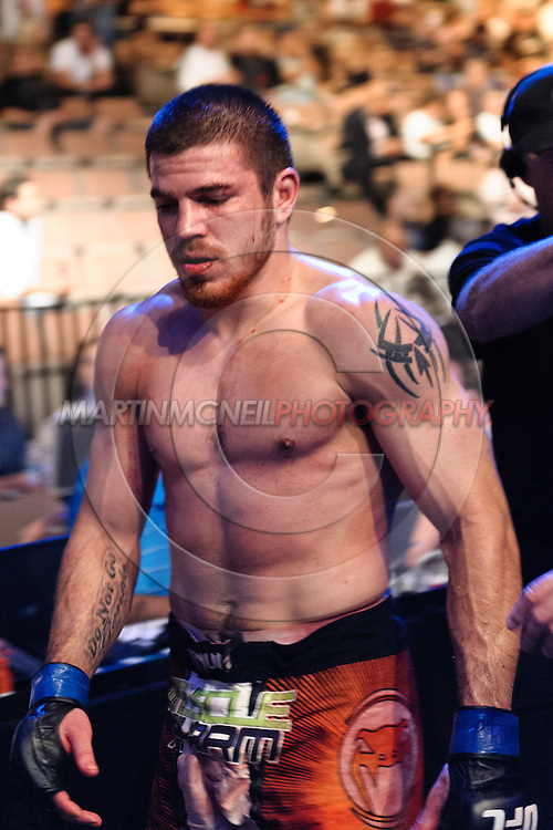 "LAS VEGAS, NEVADA. JULY 11, 2009: Jim Miller exits the arena after winning his fight at ""UFC 100: Making History"" inside the Mandalay Bay Events Center in Las Vegas, Nevada."
