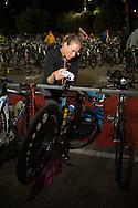 Amanda STEVENS (CAN) Prepares Transition In The Pre Dawn. Ironman Asia Pacific Championship Melbourne. Triathlon. Frankston And St Kilda, Melbourne, Victoria, Australia. 24/03/2013. Photo By Lucas Wroe