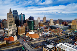 Downtown Kansas City, MO and Two Light Tower residential construction underway.