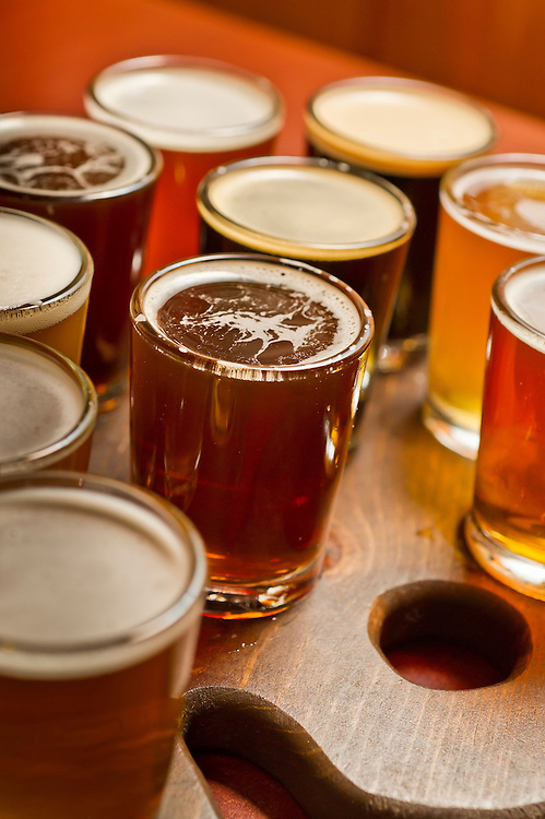 A flight of sample beers at The Vierling Restaurant and Marquette Harbor Brewery in downtown Marquette, Michigan.