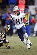 PITTSBURGH - JANUARY 23:  Kick returner Bethel Johnson #81 of the New England Patriots returns one of four kick returns against the Pittsburgh Steelers during the AFC Championship game at Heinz Field on January 23, 2005 in Pittsburgh, Pennsylvania. The Pats defeated the Steelers 41-27. ©Paul Anthony Spinelli  *** Local Caption *** Bethel Johnson