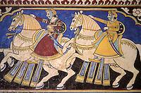 Inde - Rajasthan - Shekawati - Ville de Mandawa - Peinture sur les murs d'une Haveli (Palais)