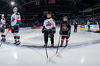 KELOWNA, CANADA - FEBRUARY 23:  The Pepsi Players of the game line up on the blue line with the Kelowna Rockets against the Kamloops Blazers on February 23, 2019 at Prospera Place in Kelowna, British Columbia, Canada.  (Photo by Marissa Baecker/Shoot the Breeze)