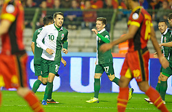 BRUSSELS, BELGIUM - Tuesday, October 15, 2013: Wales' captain Aaron Ramsey celebrates scoring the equalising goal against Belgium during the 2014 FIFA World Cup Brazil Qualifying Group A match at the Koning Boudewijnstadion. (Pic by David Rawcliffe/Propaganda)