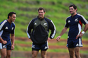 Rudi Wulf, Leon MacDonald and Stephen Donald.<br /> All Blacks Training Session at Rugby League Park, Newtown, Wellington. Tuesday 3 June 2008. Photo: Dave Lintott/PHOTOSPORT