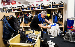 Milan Dragan preparing Dressing room of Team Slovenia at the 2017 IIHF Men's World Championship, on May 11, 2017 in AccorHotels Arena in Paris, France. Photo by Vid Ponikvar / Sportida