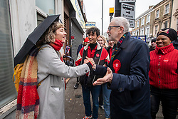 © Licensed to London News Pictures. 12/12/2019. London, UK. Jeremy Corbyn meets follow supporters on his route to the polling station in Islington. As the Country decides on a new political party and Prime Minister. Photo credit: Alex Lentati/LNP